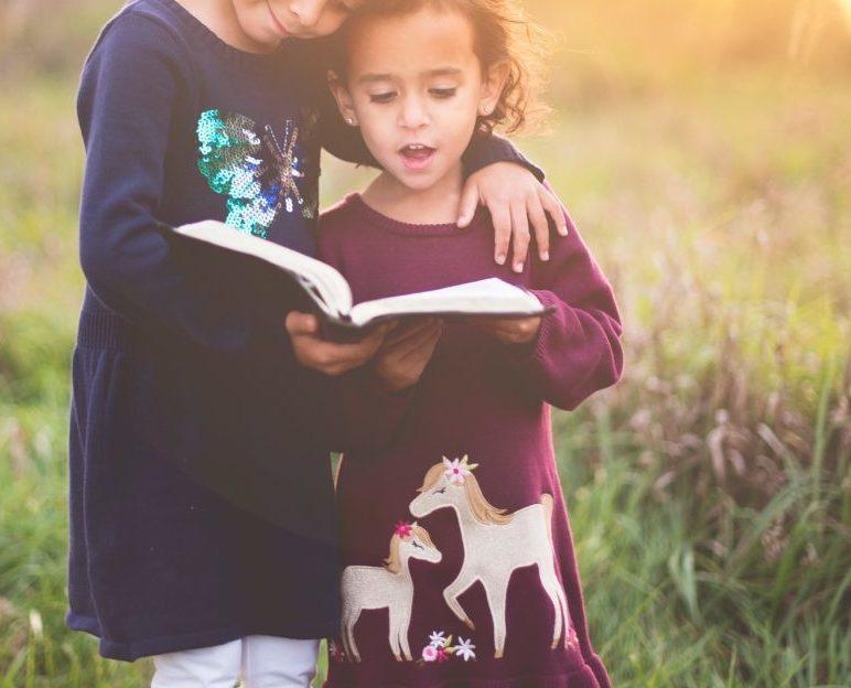 duas crianças no campo a ler um livro sobre bondade